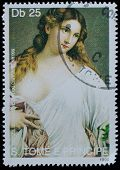 SAO TOME AND PRINCIPE - CIRCA 1990: A stamp printed in Sao tome shows Titian painting, circa 1990.