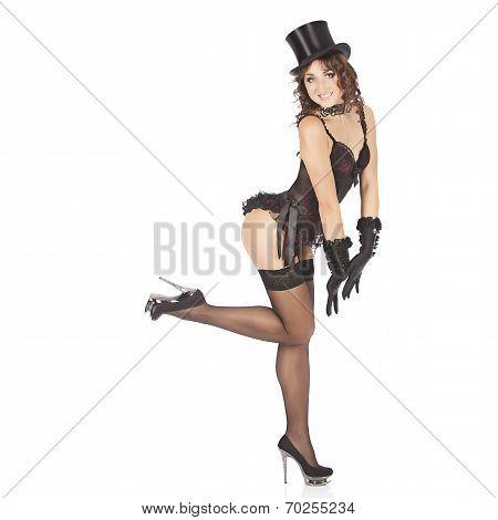poster of one sexy burlesque dancer woman stripper showgirl in studio