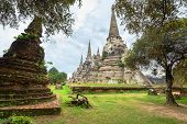 Ruins Of Acient Stupas At Buddhist Temple