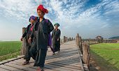 MANDALAY, MYANMAR - JAN 19, 2014: Unidentified women from hill tribe minority of Burma in traditiona