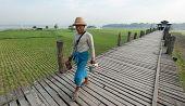 MANDALAY, MYANMAR - JAN 19, 2014: Unidentified male citizen of local village of Taungthaman lake crossing U Bein bridge - the longest wooden bridge in the world