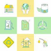 set of line flat ecology symbols