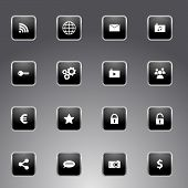 Set of black icons with silver outline