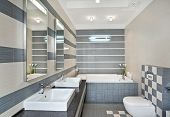 Modern Bathroom In Blue And Gray Tones With Mosaic