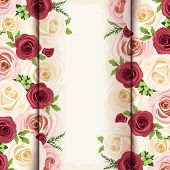 Invitation card with red, pink and white roses. Vector eps-10.