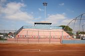 Stadium Bleachers And Backstop
