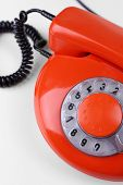 Retro red telephone, close up