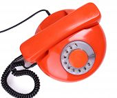 Retro red telephone, isolated on white