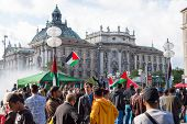Pro-palestinian Demonstration In The Central Square Of European City