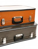 Vintage old travel suitcases, close up