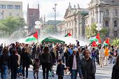Palestinian Demonstration In The Center Of A Major European City