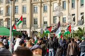Palestinian Activists Hold A Rally In The Center Of A Major European City