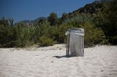 Garbage bin on a beach