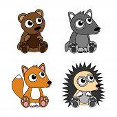 Bear, wolf, hedgehog, fox