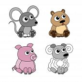 Sheep, pig, mouse, hamster