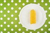 Cooked Corn Maize Cob Half On A Plate