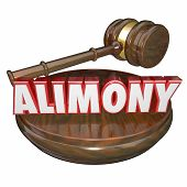Alimony word in 3d letters with a judge's gavel as a legal settlement in case of ex husband and wife financial spousal support