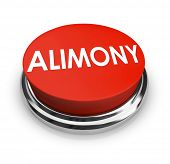 Alimony word on a red 3d button to get legal help from attorney in seeking spousal support or reduct