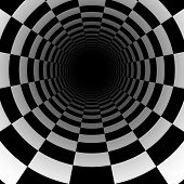 Abstract chess tunnel background with perspective effect. Vector.