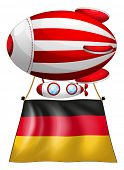 Illustration of a floating balloon with the flag of Germany on a white background
