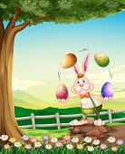 Illustration of a rabbit juggling the Easter eggs