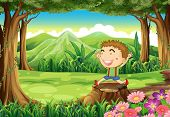 Illustration of a stump at the woods with a cute little boy