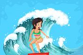 Illustration of a brave girl surfing