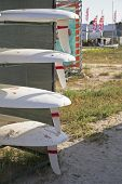 Row Of Surfboards On The Rack