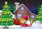 Illustration of a female Santa elf near the christmas tree