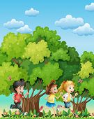 Illustration of the three kids running outdoor