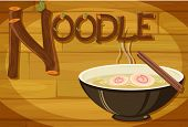 Illustration of a wooden frame with a noodle