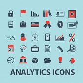 analytics, infographics black isolated icons, signs, silhouettes, illustrations set, vector