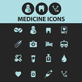 medicine, health black icons, signs, silhouettes, illustrations set. vector