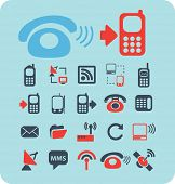 phones, mobile technology black isolated icons, signs, silhouettes, illustrations set, vector