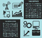 200 office, media black icons, signs, silhouettes, illustrations set. vector