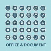 office, document, internet black icons, signs, silhouettes, illustrations set. vector