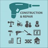 construction, repair, room service black isolated icons, signs, silhouettes, illustrations set, vect