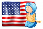 Illustration of a Muslim praying in front of the USA flag on a white background