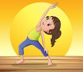 Illustration of a smiling girl doing yoga
