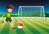 Illustration of a boy at the field using the ball with the Singaporean flag