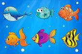 Illustration of the different kinds of fishes under the ocean