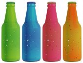 Illustration of the four colorful bottles on a white background