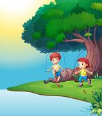 Illustration of a boy and a girl playing near the giant tree