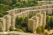 Aerial view of prefab houses in Lazdynai, Vilnius, Lithuania