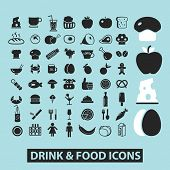 drink, food, restaurant, grocery black icons, signs, silhouettes, illustrations set. vector