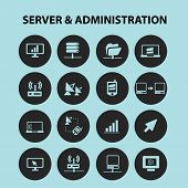 server administration black isolated icons, signs, silhouettes, illustrations set, vector