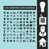 100 construction, business black isolated icons, signs, silhouettes, illustrations set, vector