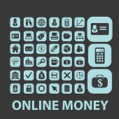 online money, atm, payment black isolated icons, signs, silhouettes, illustrations set, vector