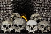 foto of tragic  - Real human skulls in bone chapel in Kutna Hora - JPG