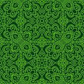 Dark green folk pattern